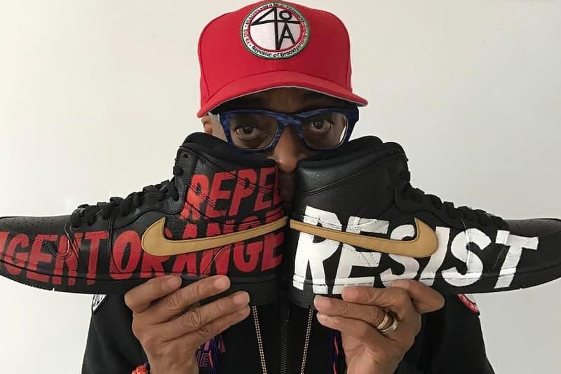 Spike Lee Shows off Custom Anti-Trump Jordans Nike Movies Films Director Air Jordan Brand