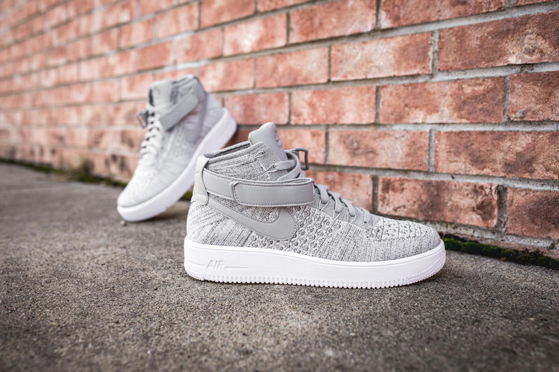 sports shoes 4cdec bfcbb Wolf Grey Nike Air Force 1 Ultra Flyknit Mid Closer Look