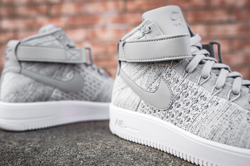 Wolf Grey Nike Air Force 1 Ultra Flyknit Mid Closer Look