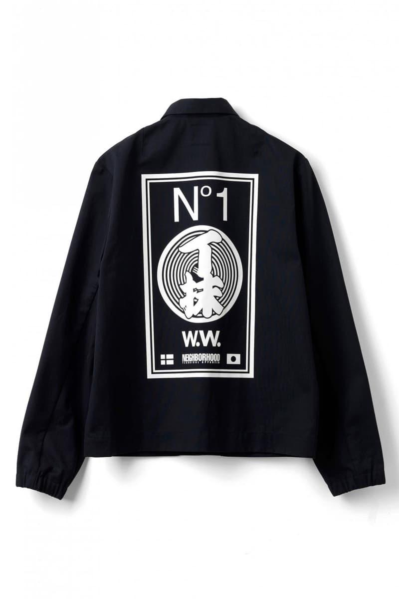Wood Wood x Neighborhood Collaboration Black Coach Jacket Back