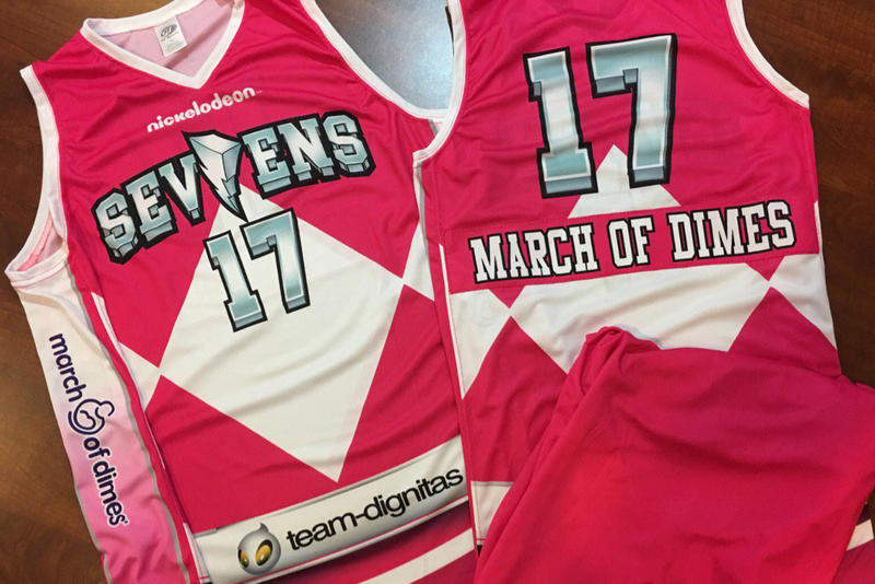 pink power rangers basketball jersey jerseys nba d league delaware 87ers sevens nickelodeon night march of dime