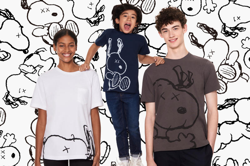 KAWS Peanuts Uniqlo UT Collection Snoopy T-Shirt White Navy Brown