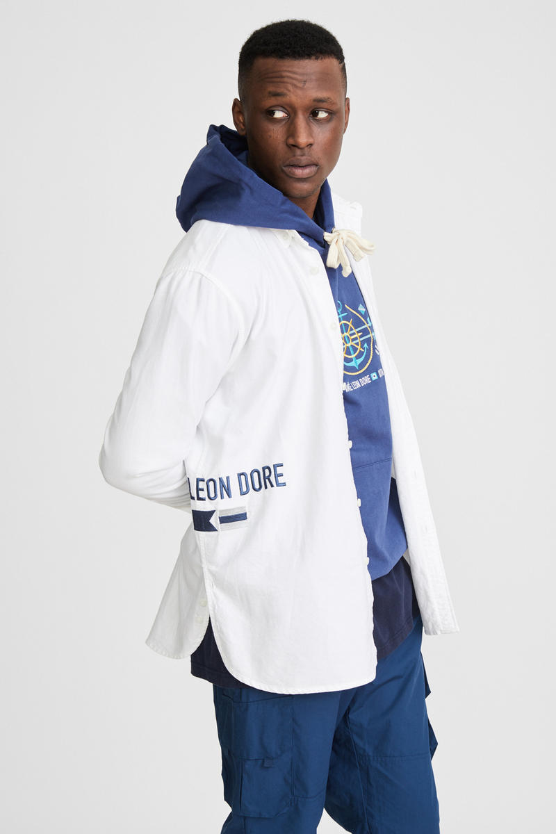KITH x Aimé Leon Dore Mykonos Collaboration White Koufos Button-Up Side Navy Anchor Williams Hoodie