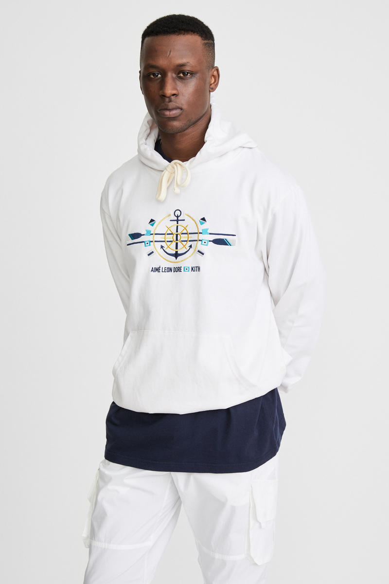 KITH x Aimé Leon Dore Mykonos Collaboration White Anchor Williams Hoodie Front