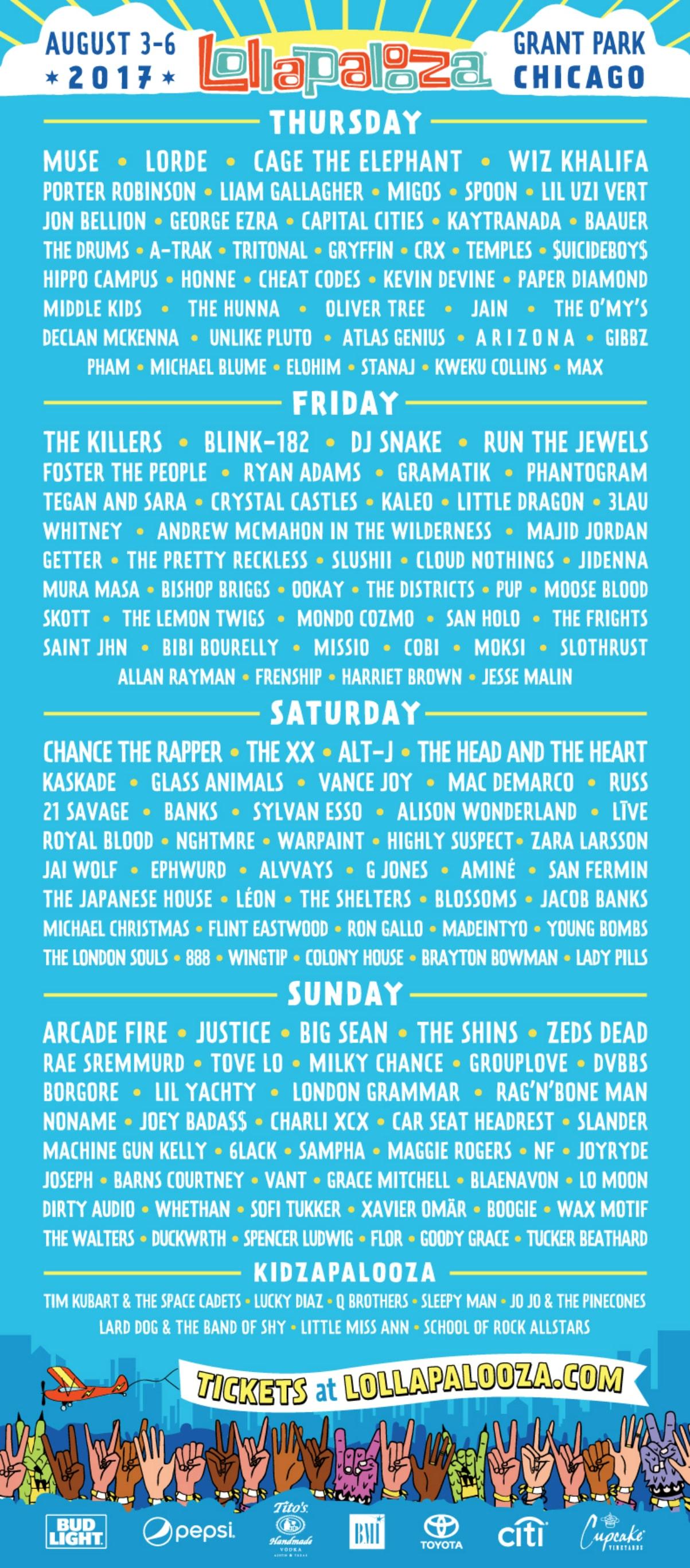 Lollapalooza 2017 Headliners Lineup