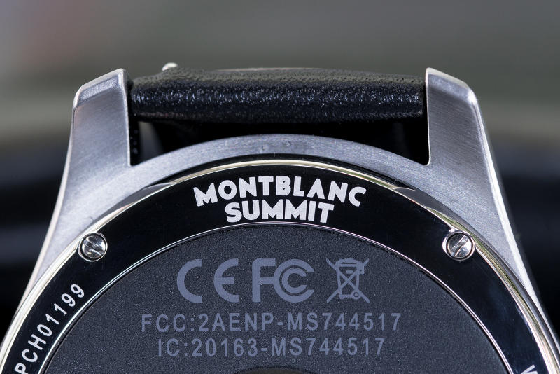 montblanc summit smart watch stainless steel back logo