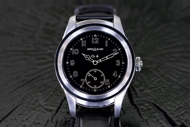 montblanc summit smart watch stainless steel black dial