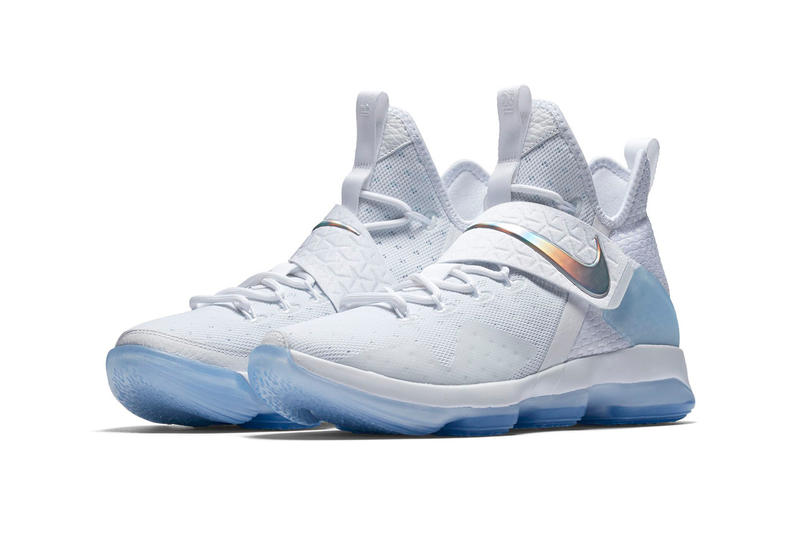 Nike LeBron 14 White Iridescent Translucent Front Quarter