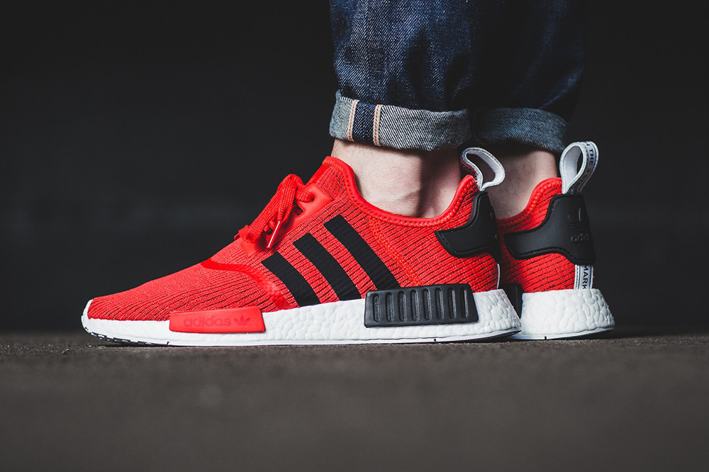 On Feet Look Adidas Nmd R1 Core Red Black Hypebeast