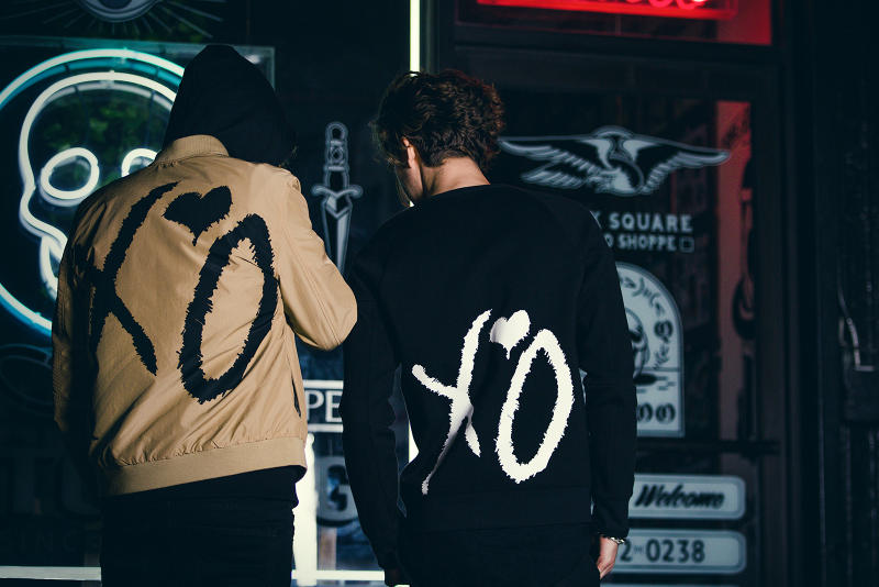 "The Weeknd H&M ""Spring Icons"" Lookbook XO coat bomber jacket sweatshirt"