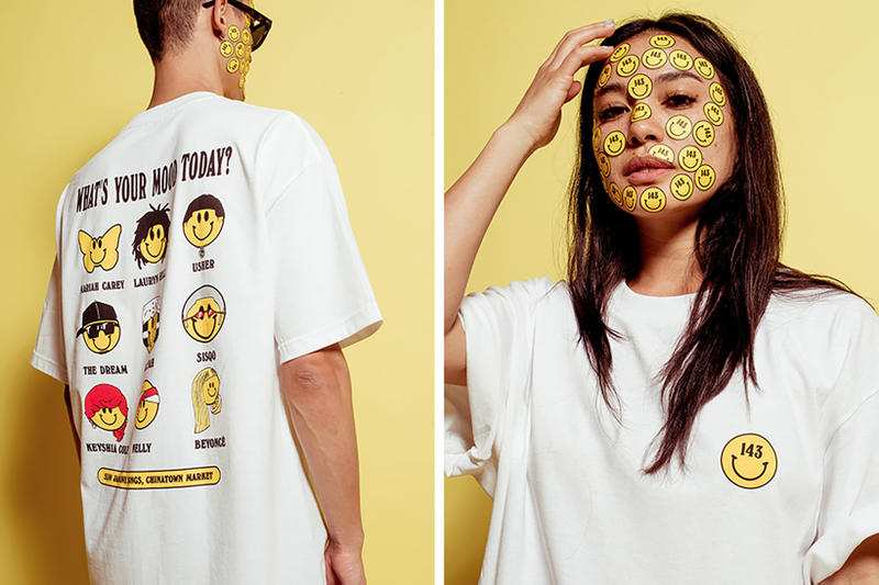 143 x Chinatown Market Whats Your Mood Today Tee SOSUPERSAM Mike Cherman Smiley Face R&B Artists