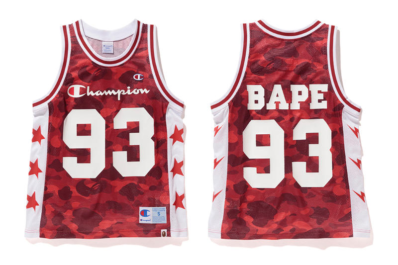 Bape x Champion Red Camouflage Basketball Vest