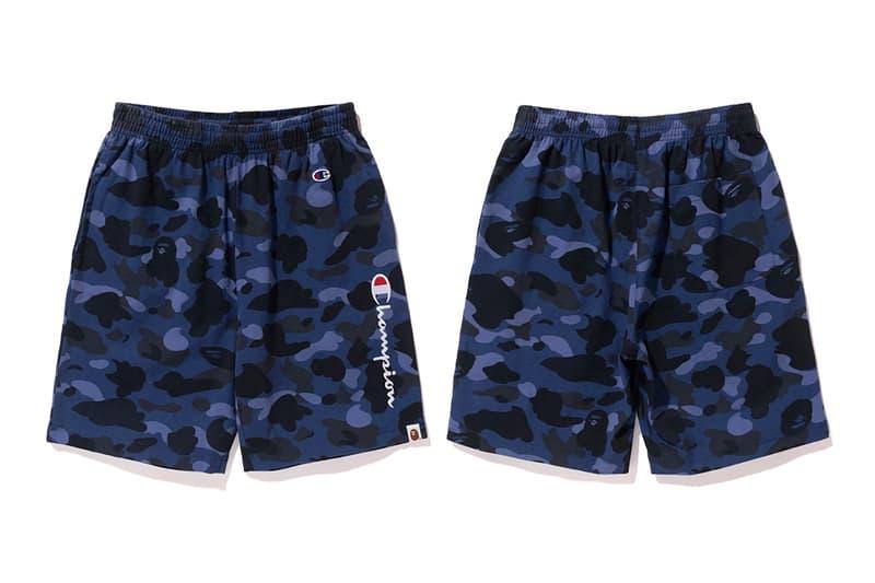 Bape x Champion Blue Camouflage Basketball Shorts