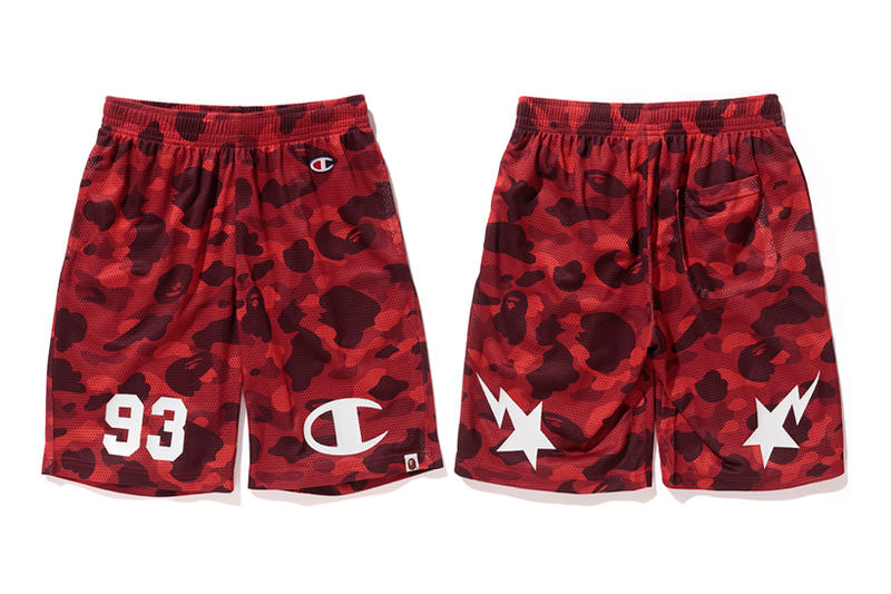 Bape x Champion Red Camouflage Basketball Shorts