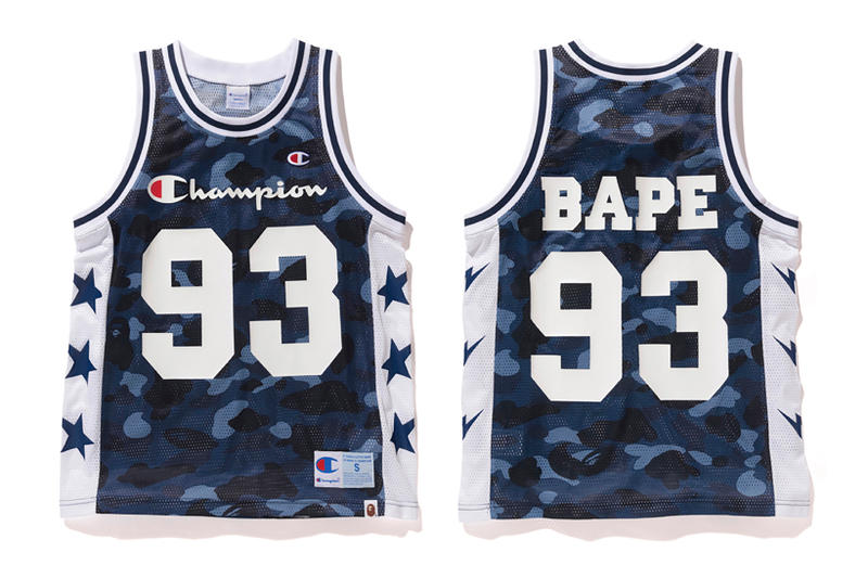 Bape x Champion Blue Camouflage Basketball Vest
