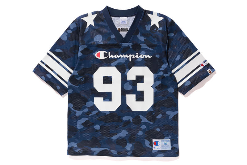 Bape x Champion Blue Camouflage NFL Top