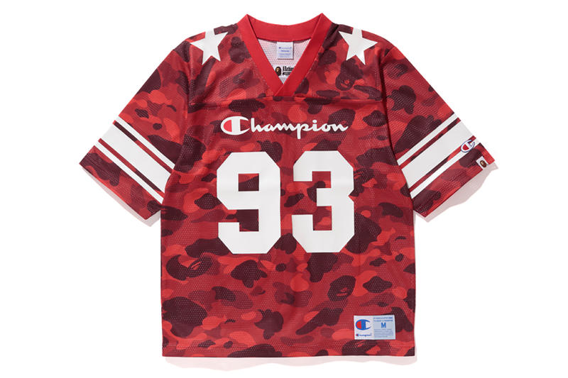 Bape x Champion Red Camouflage NFL Top