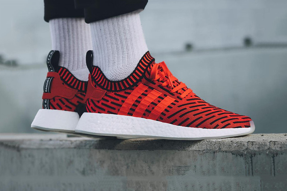 Adidas Nmd R2 Core Red Black Striped Hypebeast