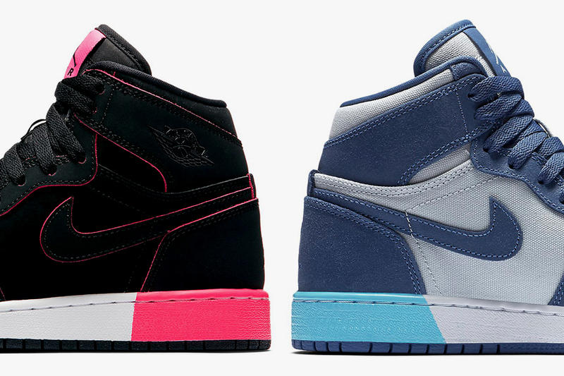 Nike Air Jordan 1s Color-Blocked Midsole Black White Black Blue Moon Pure Platinum Polarized Blue Blue Moon