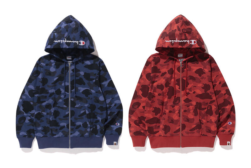 Bape x Champion Blue Red Color Camo Hoodie