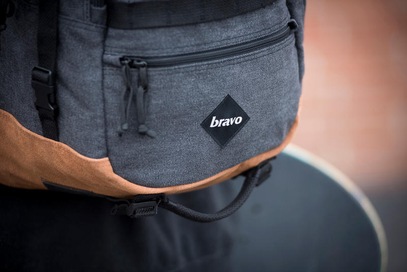 BRAVO Washed Canvas Bags Tote Backpack Shoulder Bag Suede Black White