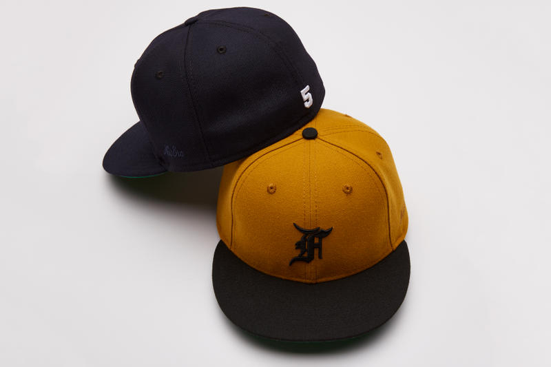 Fear of God New Era Fifth Collection Fitted Caps Hats Navy Vintage Gold