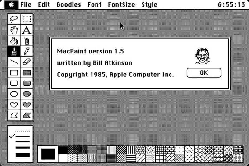 Internet Archive Original Macintosh Emulator MacPaint Black and White 1984
