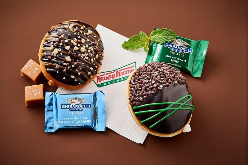 Krispy Kreme Ghirardelli Sea Salt Caramel Mint Chocolate Donuts