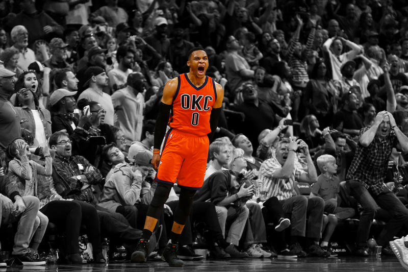 russell westbrook triple-double 42 game winner winning shot 3 three pointer thunder okc oklahoma city nba records 2016 2017
