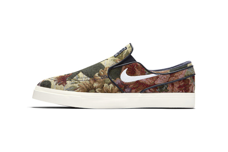 221208e9d4 Stefan Janoski's Slip-On Nike SBs Get a Tapestry-Inspired Floral Makeover