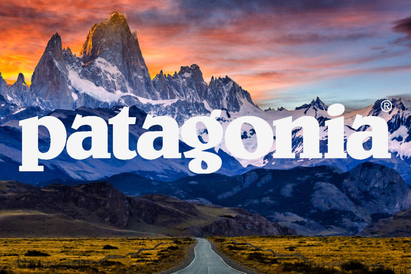 Patagonia Logo Over Mountains