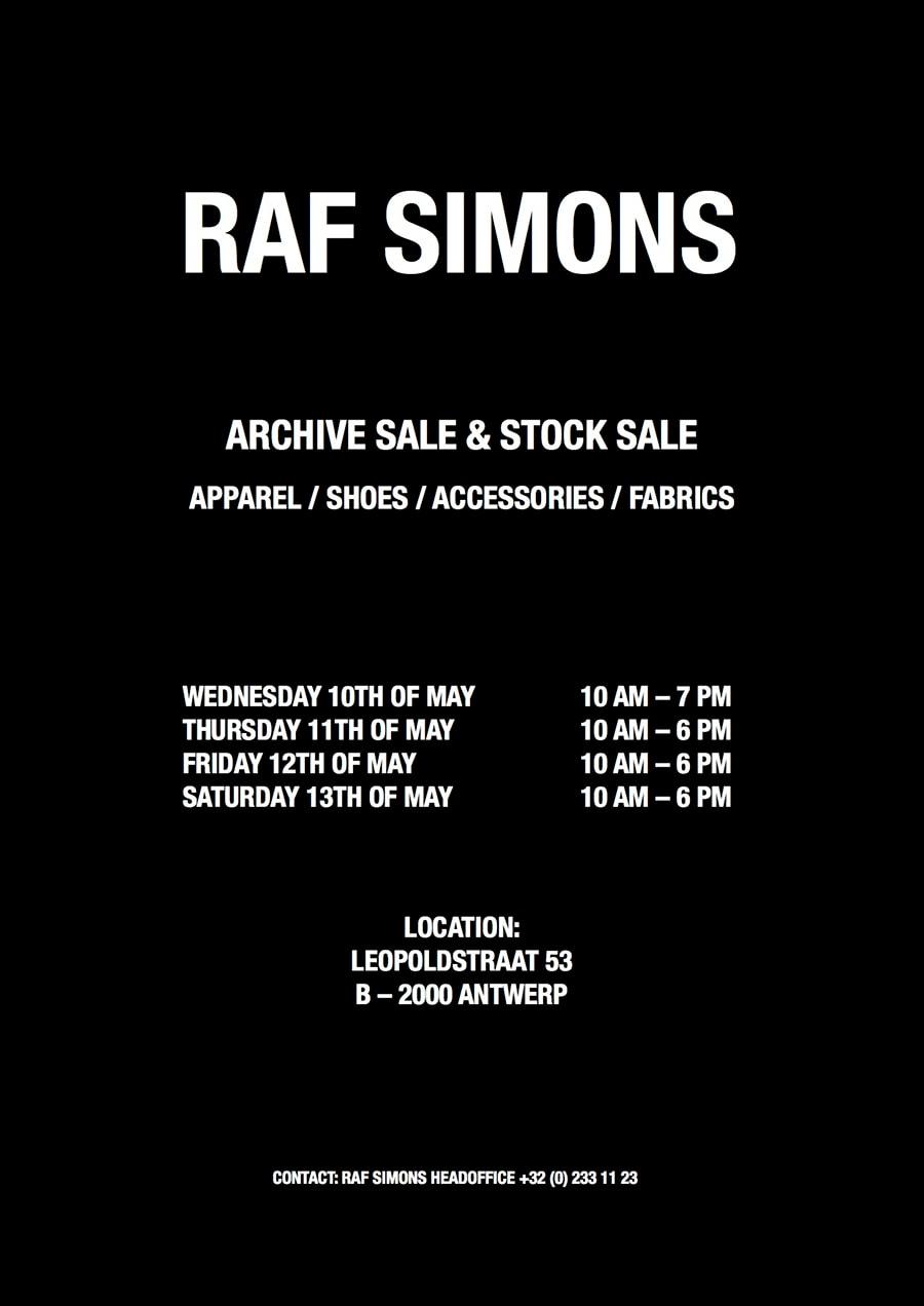 Raf Simons Antwerp Sample Sale