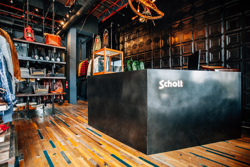 Schott NYC Launch La Brea New Store plaid shirts leather jackets shoes
