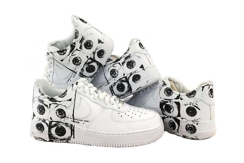 03de97028af4 Supreme COMME des GARÇONS SHIRT Nike Air Force 1 Low White Black Eyeballs  Collaboration