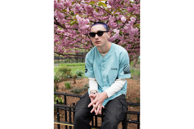 Supreme MC Escher Blue Baseball Jersey Flowers