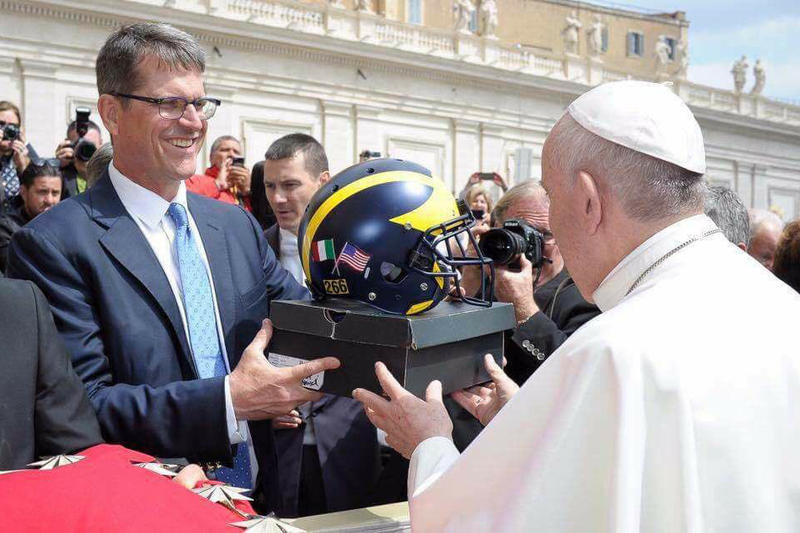 Pope Francis University of Michigan Wolverines UMich Air Jordan 5 Helmet Jim Harbaugh Vatican City