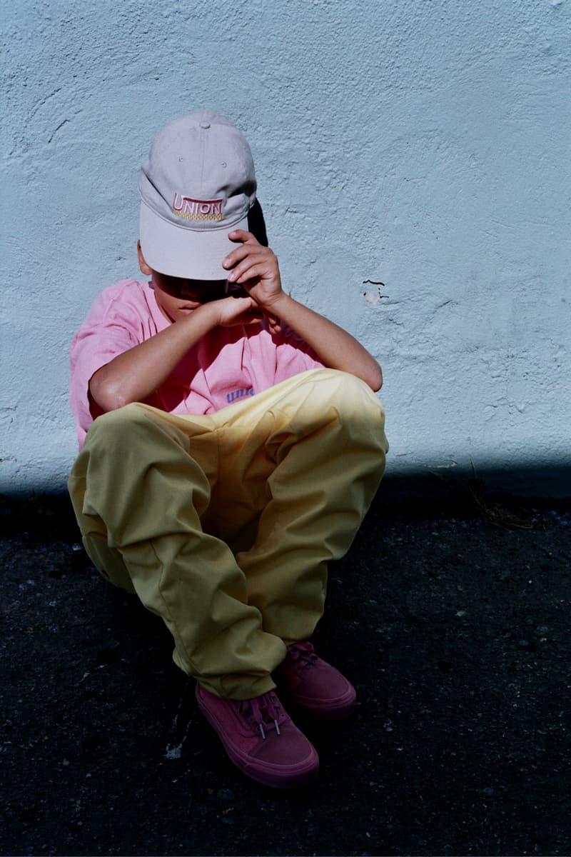 Union LA Lookbook Pink T Shirt Yellow Pants Cap