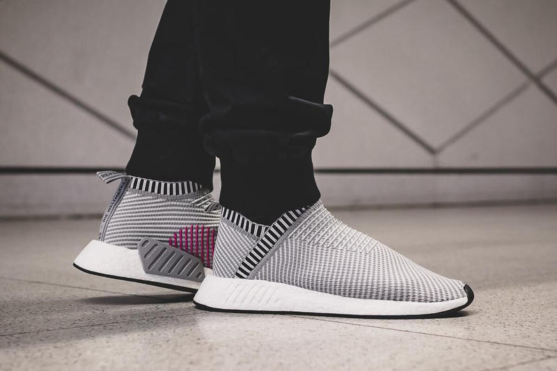 finest selection 46aea 42907 adidas NMD CS2 PK Shock Pink Pack City Sock Grey Black