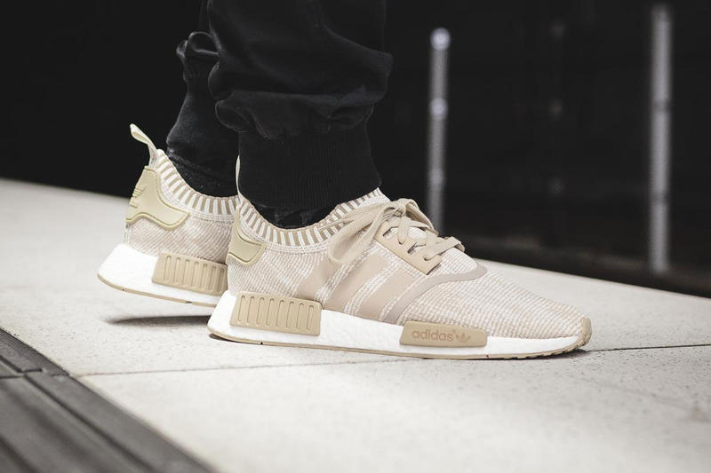 adidas NMD R1 Boost Linen Khaki   White On-Feet  63c0e5d60b32