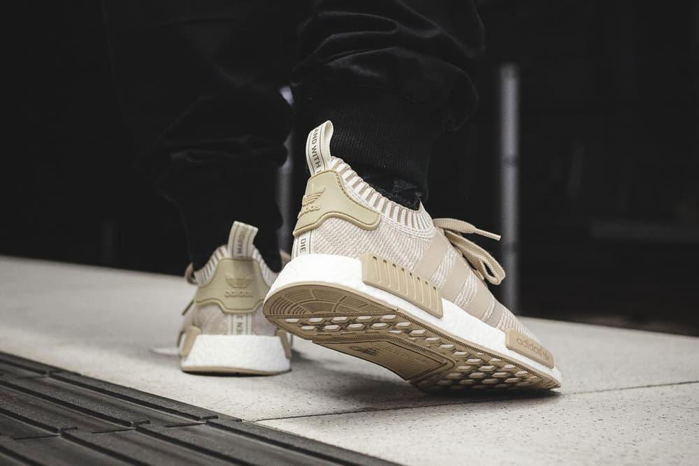 adidas NMD R1 Boost Linen Khaki & White On-Feet