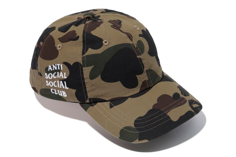Anti Social Social Club x BAPE Green Camo Cap Full