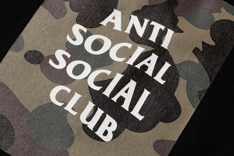 Anti Social Social Club x BAPE T-Shirt Black Green Close Up