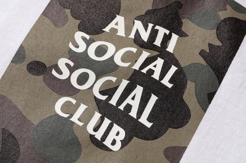 Anti Social Social Club x BAPE T-Shirt Green Close Up