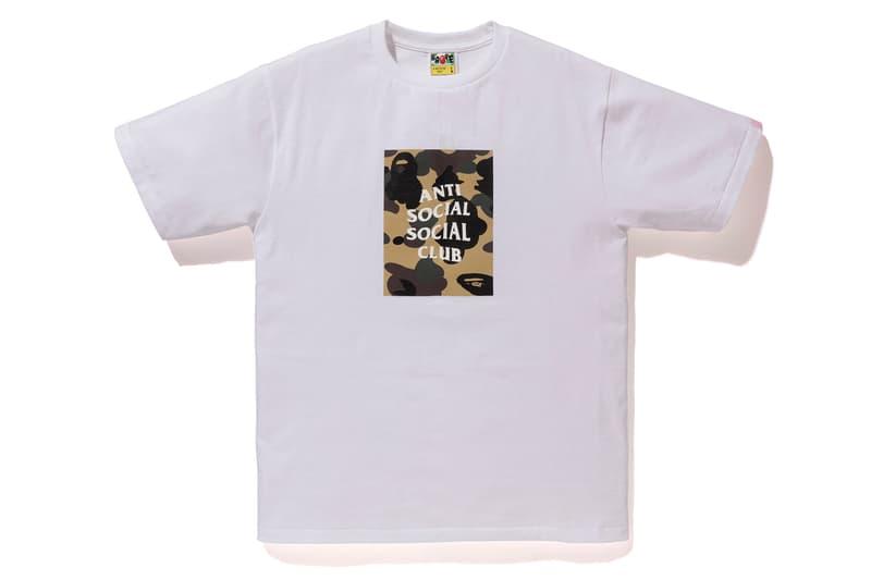 Anti Social Social Club x BAPE T-Shirt White Yellow Front