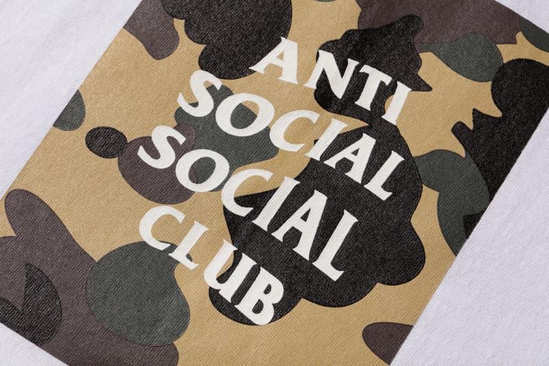 Anti Social Social Club x BAPE T-Shirt White Yellow Close Up