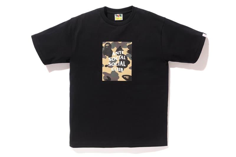 Anti Social Social Club x BAPE T-Shirt Black Yellow Front