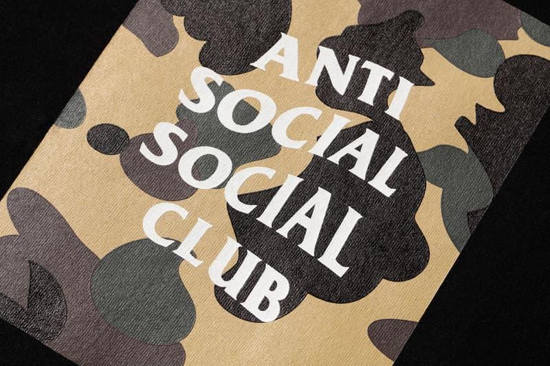 Anti Social Social Club x BAPE T-Shirt Black Yellow Close Up