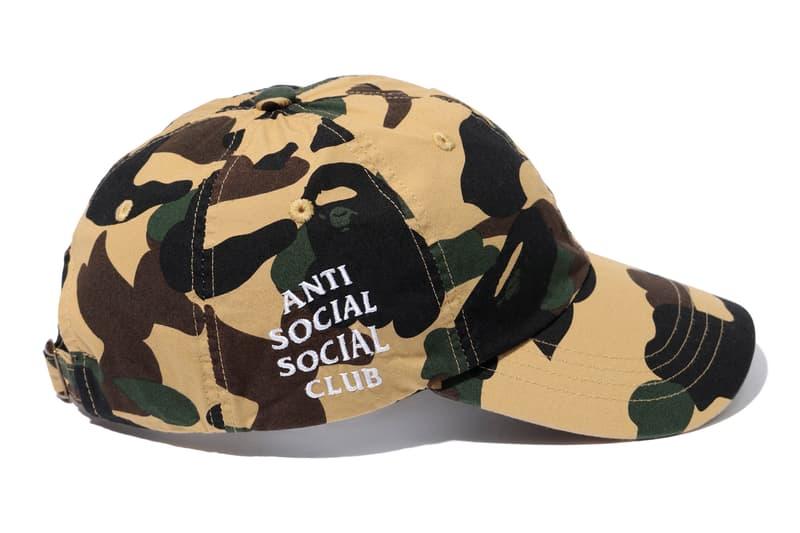 Anti Social Social Club x BAPE Green Yellow Cap Side