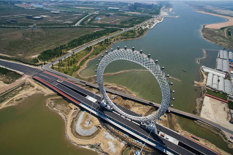 Spokeless Ferris Wheel China Bailang River Architecture Design Shandong Province Travel