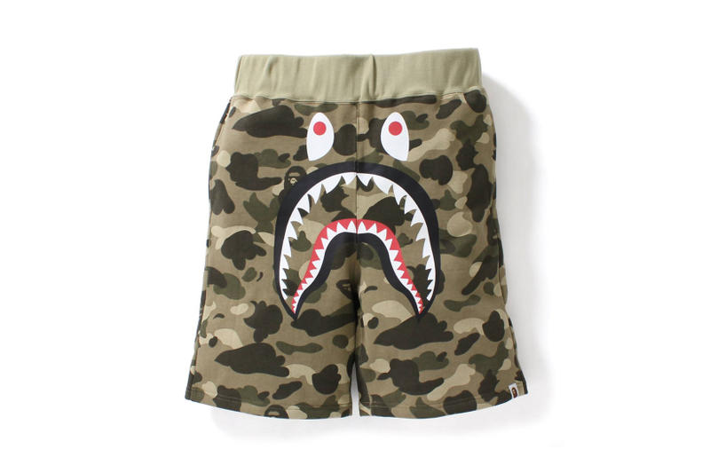 209a1f471a BAPE 1ST CAMO Shark Sweat Shorts Streetwear Fashion Clothing Bottoms Camo  Blue Red Multi Color